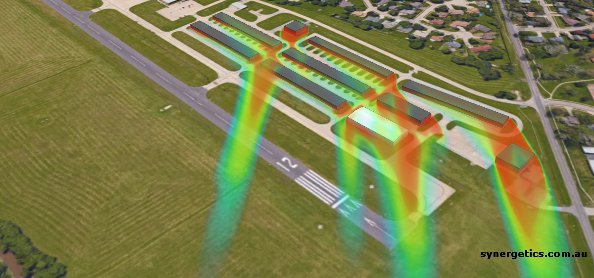 wind shear image for a development near a runway